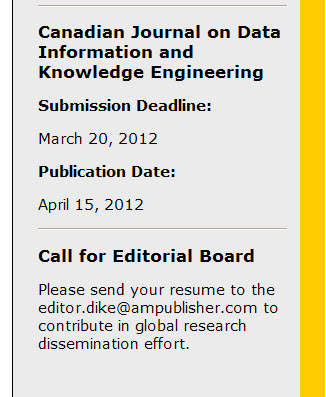 Part of the webpage of the Canadian Journal on Data, Information and Knowledge Engineering.