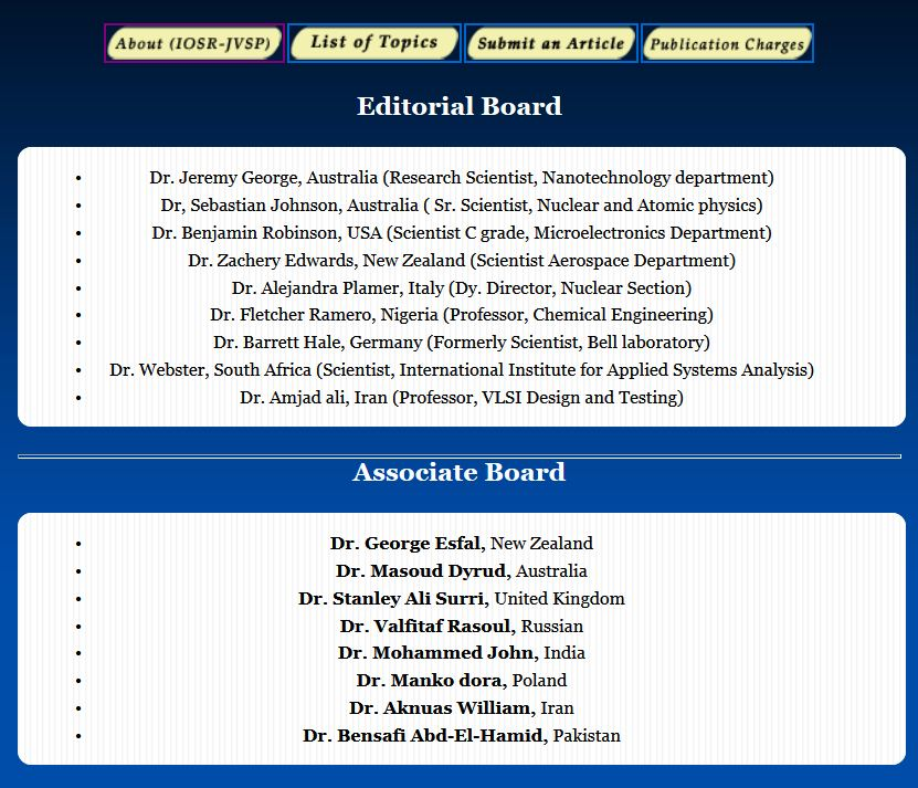 IOSR Editorial Board