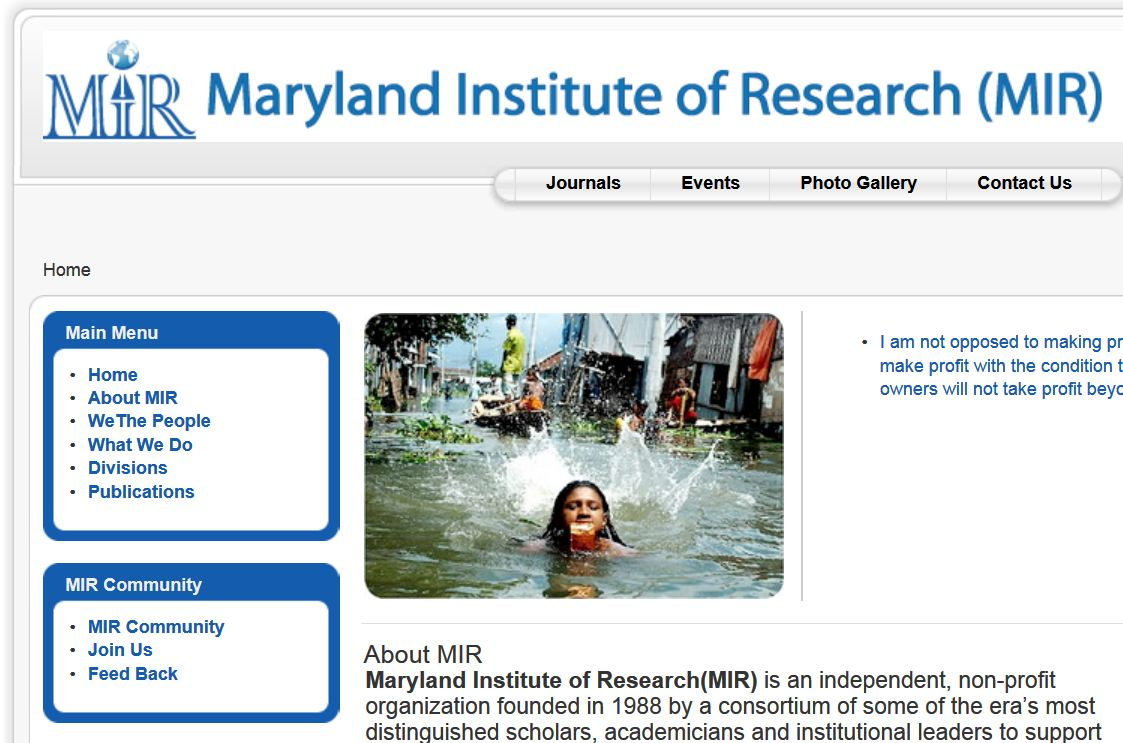 Maryland Institute of Resarch