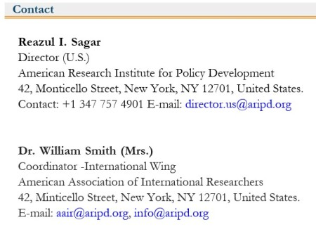 American Research Institute for Policy Development - contact us