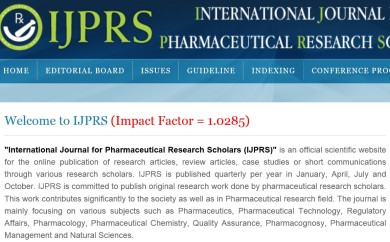 International Journal for Pharmaceutical Research Scholars impact factor