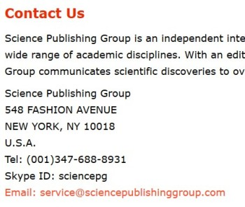 Science Publishing Group contact us