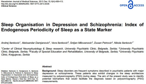 Sleep Organisation in Depression and Schizophrenia: Index of Endogenous Periodicity of Sleep as a State Marker