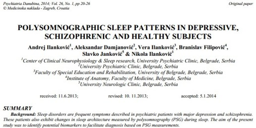 Polysomnographic Sleep Patterns in Depressive, Schizophrenic and Healthy Subjects