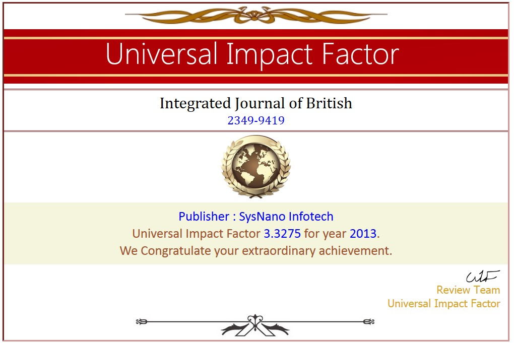 Impact factor of research paper