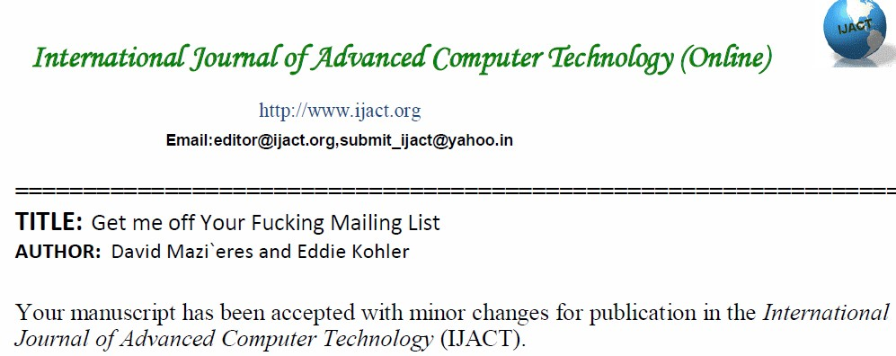 Bogus Journal Accepts Profanity-Laced Anti-Spam Paper | Scholarly Open ...