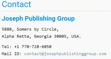Joseph Publshing Group contact