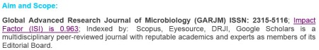 Global Advanced Research Journal of Microbiology