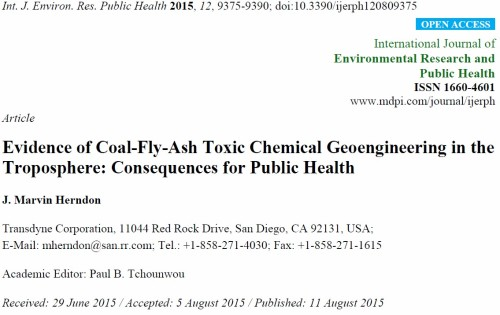 Evidence of Coal-Fly-Ash Toxic Chemical Geoengineering in the Troposphere: Consequences for Public Health