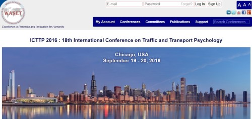 International Conference on Traffic and Transport Psychology (ICTTP). WASET
