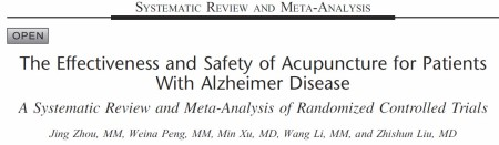 The Effectiveness and Safety of Acupuncture for Patients with Alzheimer Disease: A Systematic Review and Meta-Analysis of Randomized Controlled Trials