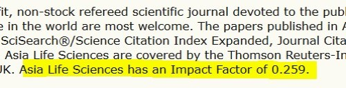 Asia Life Sciences former impact factor