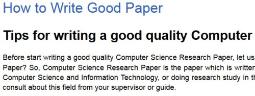 How to Write Good Paper