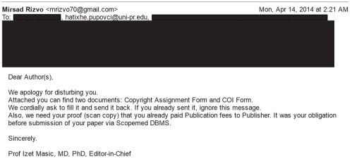 A copyright transfer form from the journal, indicating the article will be published.